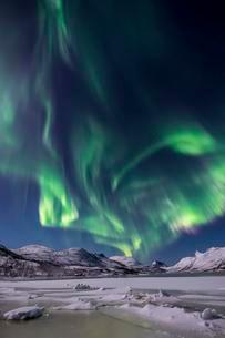 Northern lights over the Senja Island, Troms, Norway, Europeの写真素材 [FYI02343056]