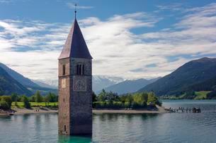 Church tower of Alt-Graun in the Lake Reschenseeの写真素材 [FYI02343161]