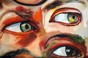 Wall painting, street art, graffiti, eyes, Beco doの写真素材 [FYI02343174]