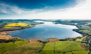 Aerial view, Malchiner See lake, near Dahmen, Dahmenの写真素材 [FYI02343196]