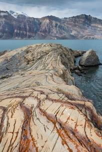 Unfolded coloured rock strata, former marine sedimentsの写真素材 [FYI02343308]