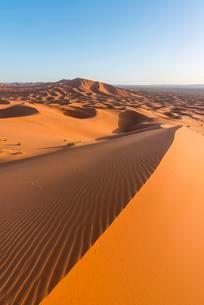 Red sand dunes in the desert, dune landscape Erg Chebbiの写真素材 [FYI02343489]