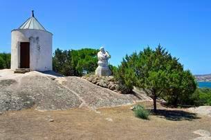 Guard shack and bust of Giuseppe Garibaldi at his home Casaの写真素材 [FYI02343490]
