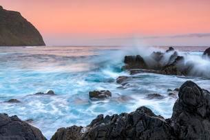 Large wave at sunrise, Porto Moniz, Madeira, Portugalの写真素材 [FYI02343532]