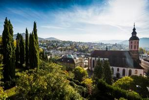 Panorama with collegiate church, Baden-Baden, Black Forestの写真素材 [FYI02343557]