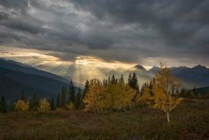 Mountain landscape in autumn, sunshine shines through cloudの写真素材 [FYI02343599]