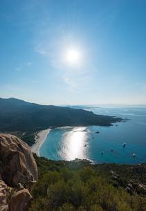 Coastline with sandy beach, Sartene, Corsica, France, Europeの写真素材 [FYI02343626]