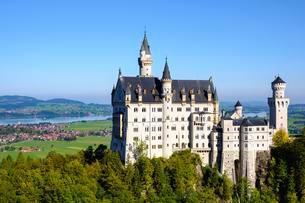 Neuschwanstein Castle, in the back Forggensee, Schwangauの写真素材 [FYI02343650]