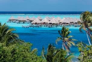 Bungalows in the turquoise sea, Sofitel Bora Bora resortの写真素材 [FYI02343680]