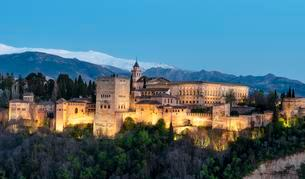 Evening mood, Alhambra on the Sabikah hill, Moorishの写真素材 [FYI02343771]