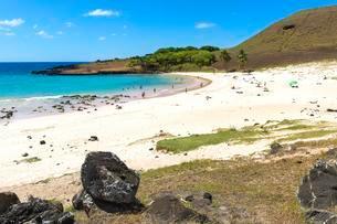 Anakena beach, Rapa Nui National Park, Easter Islandの写真素材 [FYI02343830]