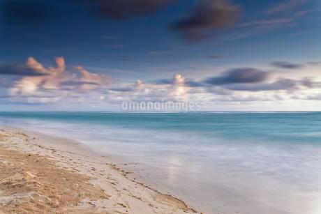 Sandy beach, sea with cloudy sky, Playa Bavaro, Atlanticの写真素材 [FYI02343970]