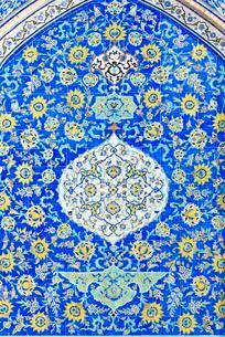Tilework, Masjed-e Sheik Lotfollah mosque, Esfahan, Iranの写真素材 [FYI02344019]