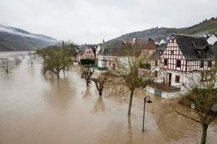 Floods on the Moselle, Reil, Rhineland-Palatinate, Germanyの写真素材 [FYI02344037]