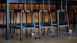 empty iron chairsの写真素材 [FYI02344253]
