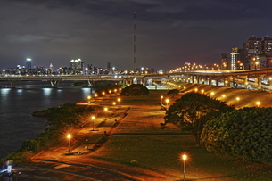 Overview the bridge and city at the nightの写真素材 [FYI02344582]