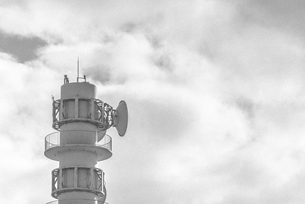 Signal tower with cloud skyの写真素材 [FYI02344726]
