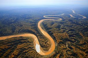 aerial photograph of Yellow River;Chinaの写真素材 [FYI02347332]