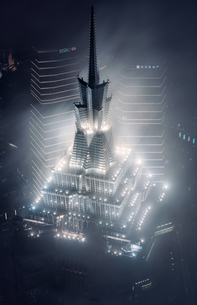 Aerial view of the top of Jin Mao Tower at the nightの写真素材 [FYI02347481]
