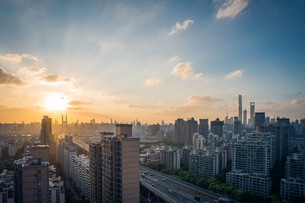 Sunlight break through cloud upon the metropolitan area; Shanghai Chinaの写真素材 [FYI02347552]