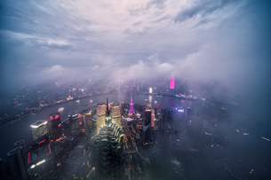 Birds eye view of the skyscraper of the Shanghaiの写真素材 [FYI02347666]