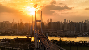 Overview of the Napu bridge and the Shanghai cityの写真素材 [FYI02347725]
