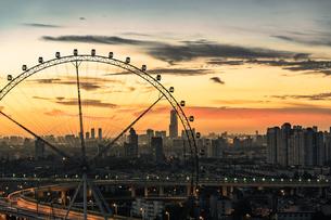 Silhouette of Ferris wheel; Sky Ring; Shanghai; Chinaの写真素材 [FYI02348047]