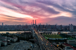 Overlooking the City skyline; Shanghai;Chinaの写真素材 [FYI02348123]