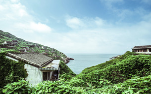 Beautiful scenery of barren village on wolfberry Island,Chinaの写真素材 [FYI02348482]