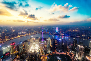 Aerial view of Shanghai China at the night with mixed atmosphereの写真素材 [FYI02348552]