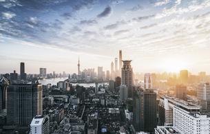 Lujiazui Sunrise,Shanghai,Chinaの写真素材 [FYI02349654]