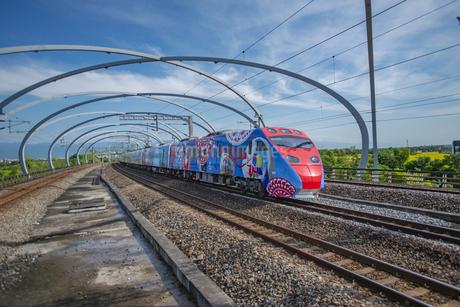 Yilan,Dungshan train station,Puyuma Expressの写真素材 [FYI02349988]