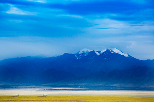 Tian Shan with blue sky and green meadowの写真素材 [FYI02350051]