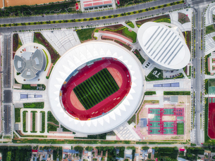 aerial photography of the Sport Center Palaestra,Chinaの写真素材 [FYI02350132]