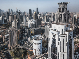 Birds eye view of the city, Shanghai, Chinaの写真素材 [FYI02350179]