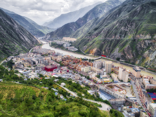 aerial photography of  WenchuanTown,Sichuan Province,Chinaの写真素材 [FYI02350298]