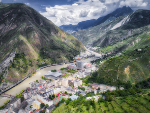 aerial photography of  Wenchuan Country,Sichuan Province,Chinaの写真素材 [FYI02350319]