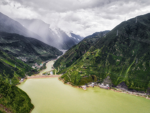 aerial photography of  Luding Town,Sichuan Province,Chinaの写真素材 [FYI02350651]