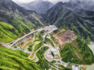 aerial photography of  Luding Town,Sichuan Province,Chinaの写真素材 [FYI02350863]