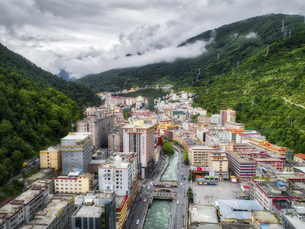 aerial photography of luchengTown,Sichuan Province,Chinaの写真素材 [FYI02351148]