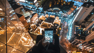 Birds eye view of the city at the night, Shanghai, Chinaの写真素材 [FYI02351559]