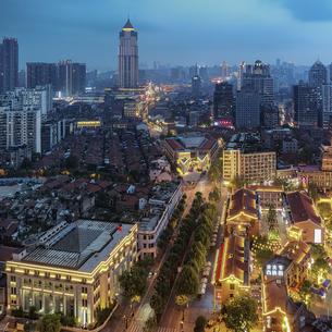 Wuhan City Nightscape Hankou City,Wuhan, Chinaの写真素材 [FYI02353380]