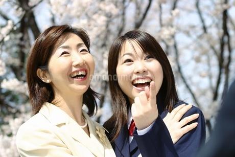 合格発表を喜ぶ母娘の写真素材 [FYI02354288]