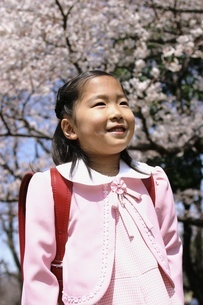 桜の木とランドセルを背負った少女の写真素材 [FYI02354320]