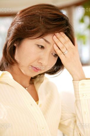 頭を抱える女性の写真素材 [FYI02354539]