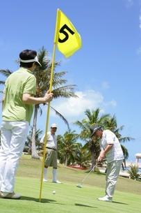 ゴルフをするシニアの写真素材 [FYI02354674]