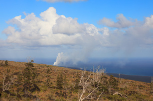 ハワイ島 キラウエア火山チェーン・オブ・クレーターズ・ロードからのオーシャンエントリーの噴煙の写真素材 [FYI02355191]