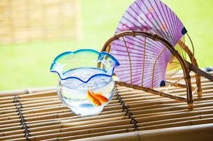 縁台の上の金魚とうちわの写真素材 [FYI02356872]