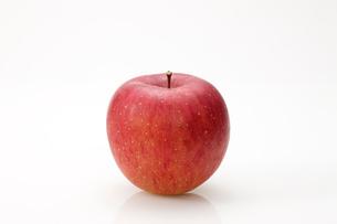 白バックの一個のリンゴの写真素材 [FYI02357037]