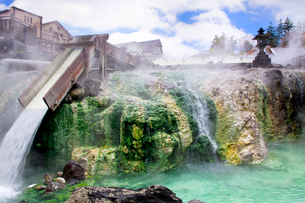 草津温泉の湯畑の写真素材 [FYI02357417]